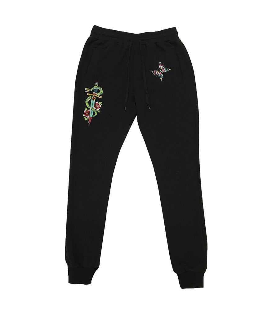 SNAKE EMBROIDERED JOGGER - BLACK