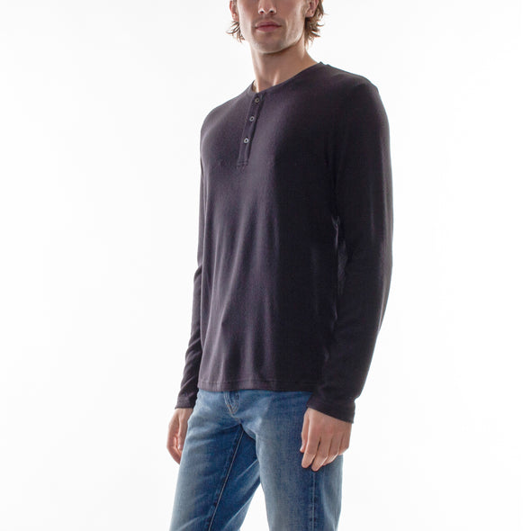 HACCI LONG SLEEVE HENLEY - CHARCOAL