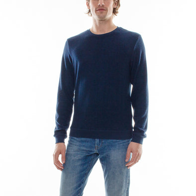 HACCI NAVY LONG SLEEVE CREW - NAVY