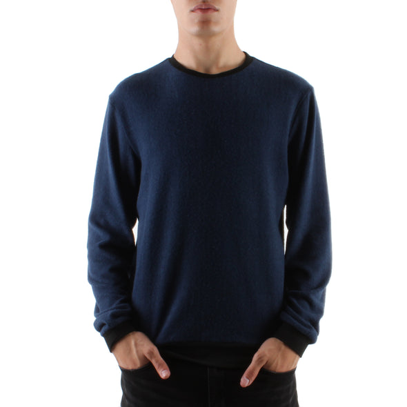 HACCI NAVY LONG SLEEVE CREW - INDIGO/BLACK