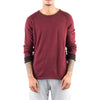 ROLLED EDGE RAGLAN SWEATER - BURGUNDY