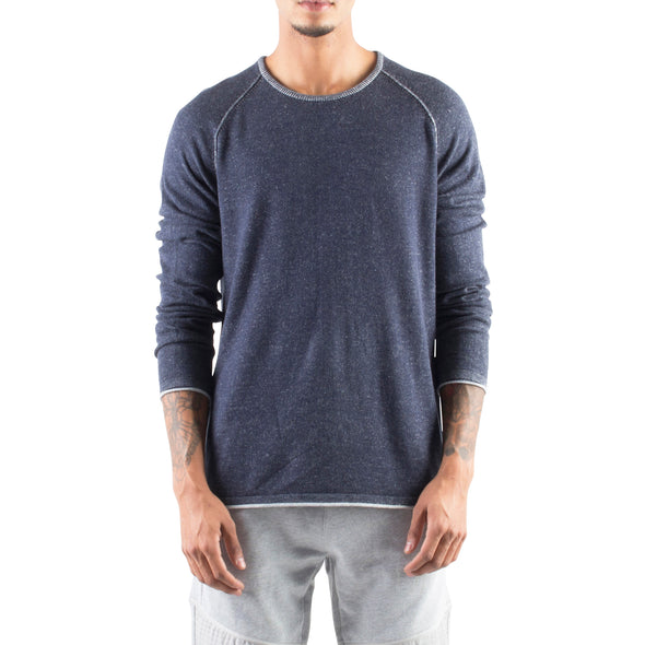 ROLLED EDGE RAGLAN SWEATER - NAVY