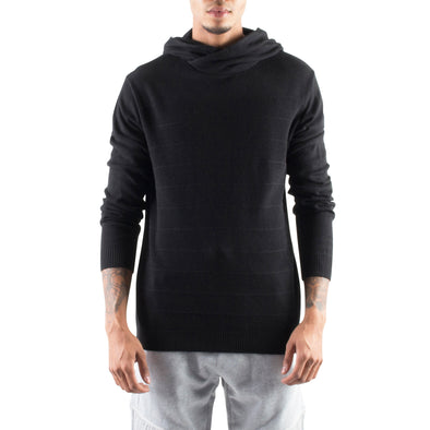 KNITTED CROSSOVER HOODIE - BLACK