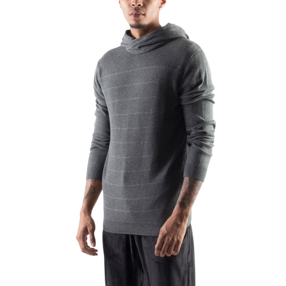 KNITTED CROSSOVER HOODIE - CHARCOAL