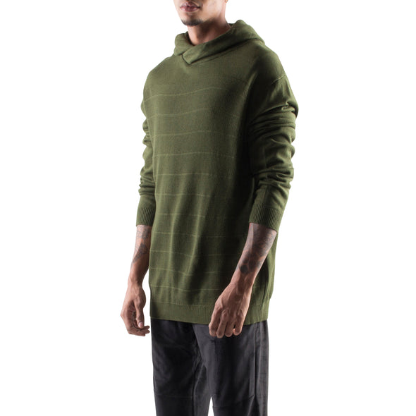 KNITTED CROSSOVER HOODIE - GREEN