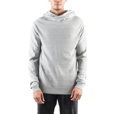 KNITTED CROSSOVER HOODIE - HEATHER GREY