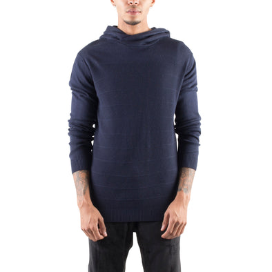 KNITTED CROSSOVER HOODIE - NAVY