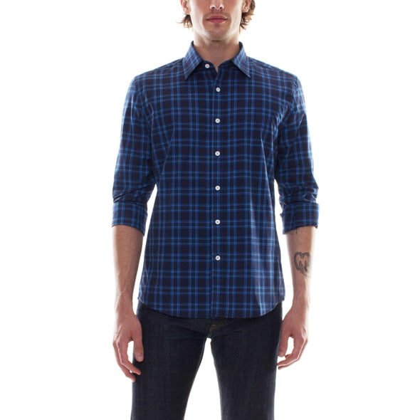 NAVY BLUE PLAID DRESS SHIRT