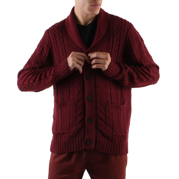 KNIT SHAWL CARDIGAN - BURGUNDY