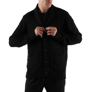 KNIT SHAWL CARDIGAN - BLACK