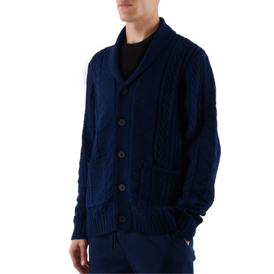 KNIT SHAWL CARDIGAN - NAVY