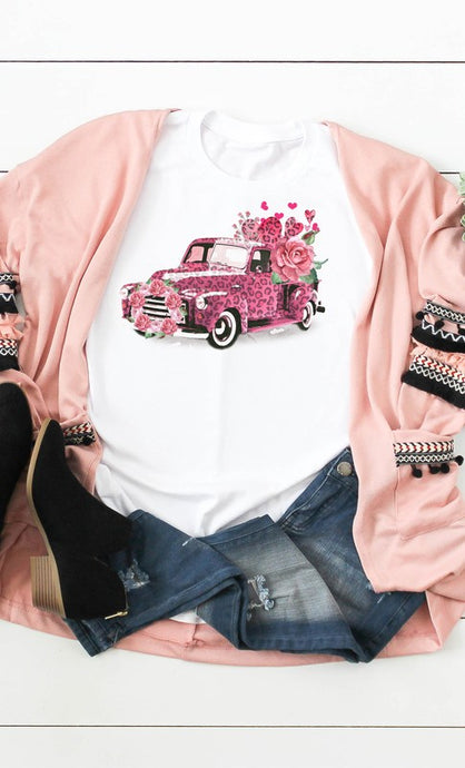 Pink Leopard Valentine Truck with Flowers