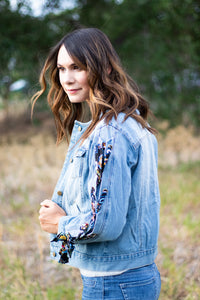 Scarfed Denim Jacket with Scarf Lace Sleeve