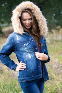 Distressed Denim Jacket with Removable Fur