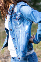 Load image into Gallery viewer, Distressed Boyfriend Fit Denim Jacket