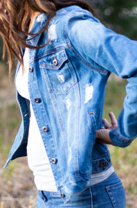 Distressed Boyfriend Fit Denim Jacket