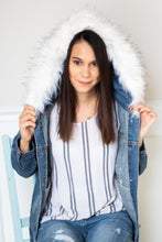 Load image into Gallery viewer, Distressed Denim Jacket with Removable Fur