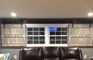 Interior Window Barn Shutter Package - Sliding Shutters - Rustic Wood Shutter