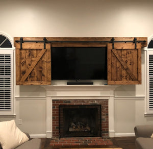 Z Bar TV Barn Door Package - TV Cover with Barn Hardware