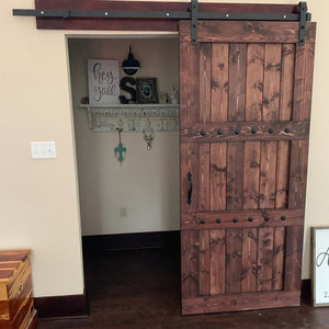 Rustic Interior Barn Sliding Door with Barn Hardware - 84x33 Horizon style Barn Door