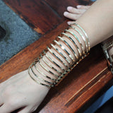 MANILAI Geometric Hollow Statement Bracelets Jewelry Faceted Alloy Large Opened Cuff Bangles & Bracelets For Women Manchette