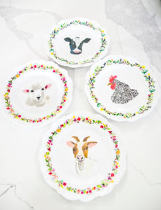 Farm Animal Melamine Plates