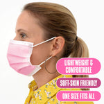 Disposable Pink Face Masks (Pack of 50) | Made in Canada