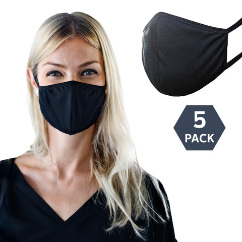 Black Cotton Washable and Reusable Face Masks (5 pcs)