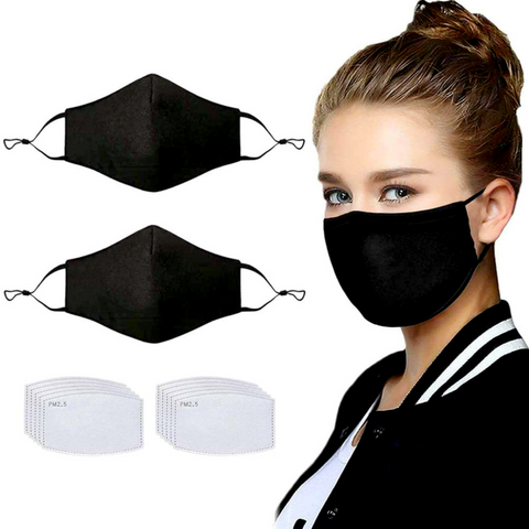 Reusable Cloth Face Mask (2 masks) | 10 Filters included