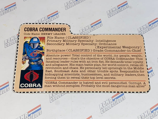 GI joe File Card - 1982 COBRA COMMANDER - Mail Away Brown Back