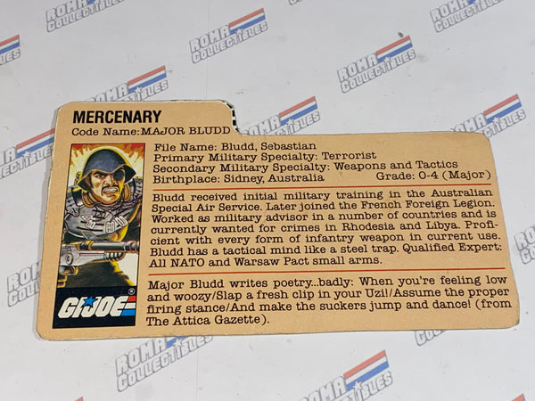GI joe File Card - 1983 MAJOR BLUDD - Mail Away Brown Back