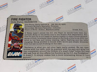 GI joe File Card - 1985 BARBECUE - Gray