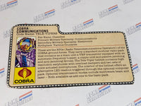 GI joe File Card - 1985 TELE VIPER - Peach
