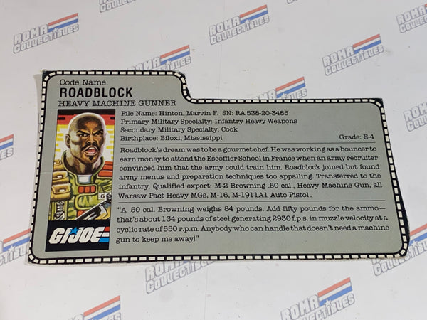 GI joe File Card -  1986 ROAD BLOCK v2