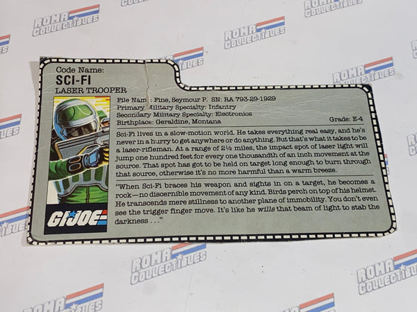 GI joe File Card -  1986 SCI FI