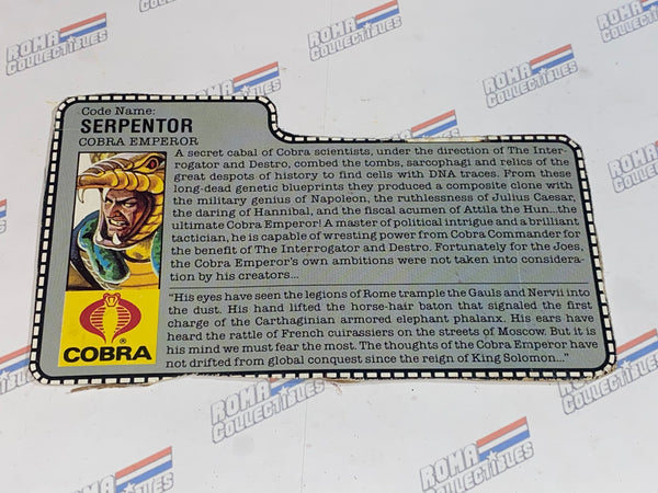 GI joe File Card -  1986 SERPENTOR