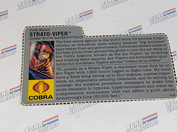 GI joe File Card -  1986 STRATO VIPER