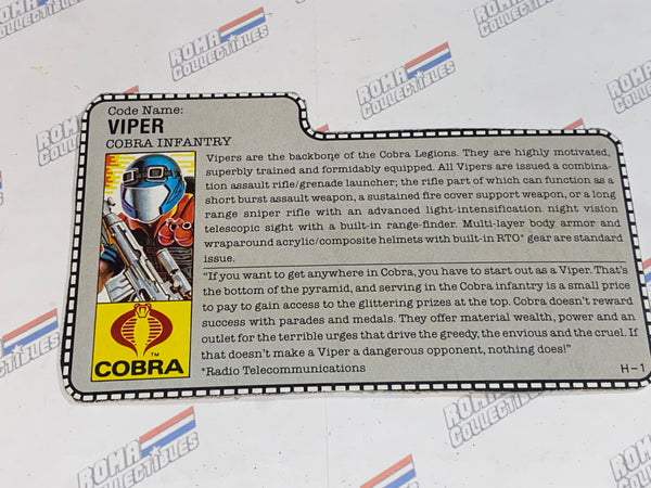 GI joe File Card -  1986 VIPER