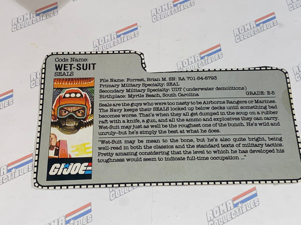 GI joe File Card -  1986 WET SUIT