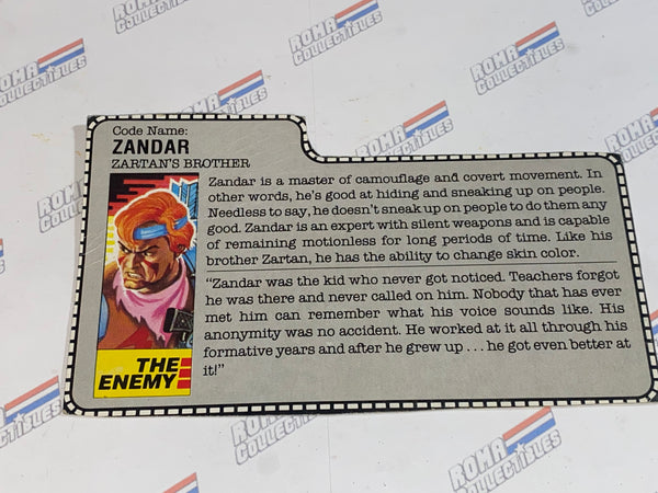 GI joe File Card -  1986 ZANDAR