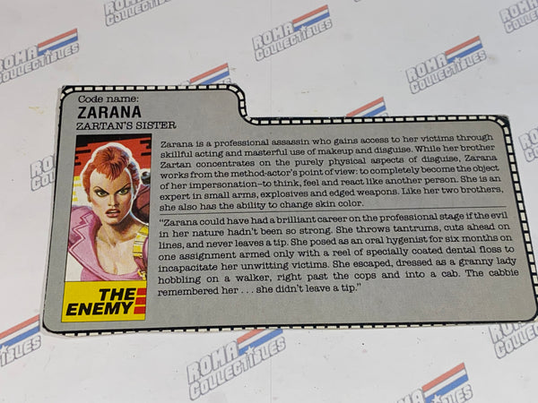 GI joe File Card -  1986 ZARANA