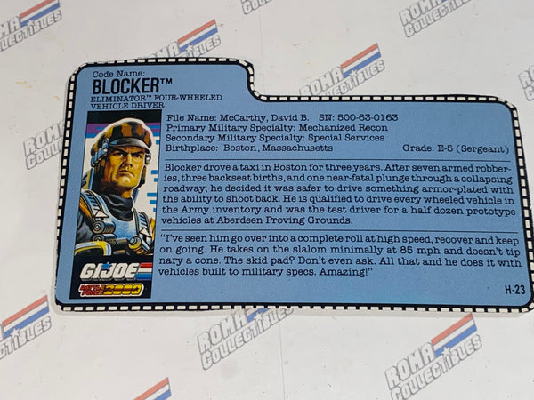 GI joe File Card - 1987 BLOCKER