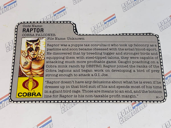 GI joe File Card - 1987 RAPTOR