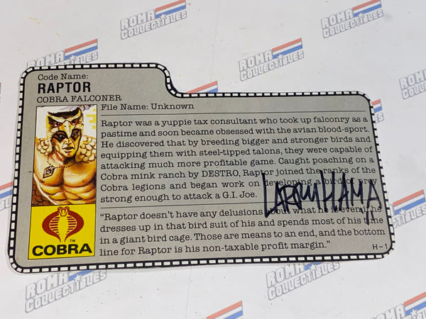 GI joe File Card - 1987 RAPTOR - Signed by Larry hama