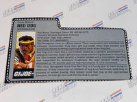 GI joe File Card - 1987 red dog