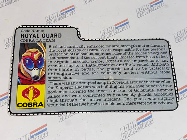GI joe File Card - 1987 ROYAL GUARD