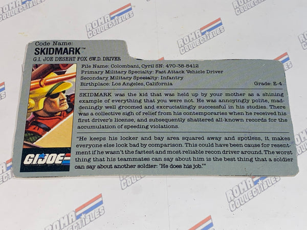 GI joe File Card - 1987 SKID MARK