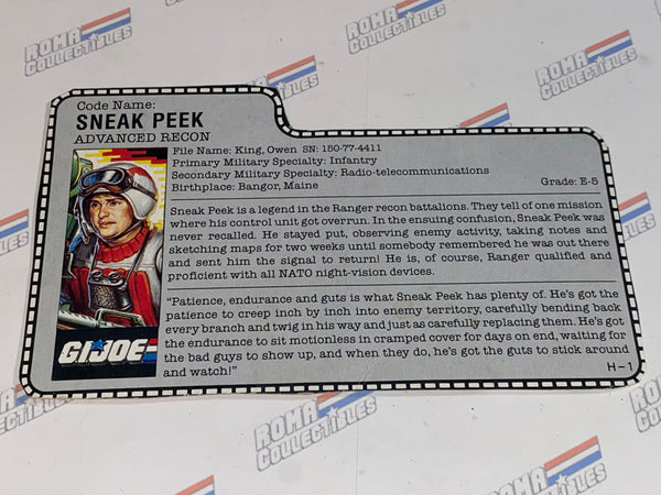 GI joe File Card - 1987 SNEAK PEEK