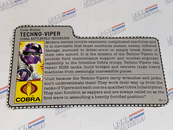GI joe File Card - 1987 TECHNO VIPER