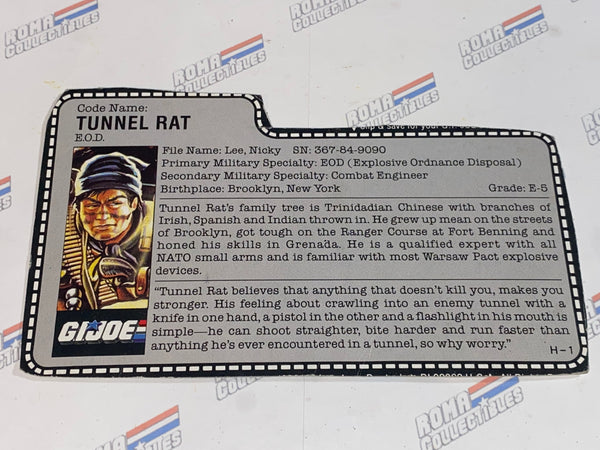 GI joe File Card - 1987 TUNNEL RAT